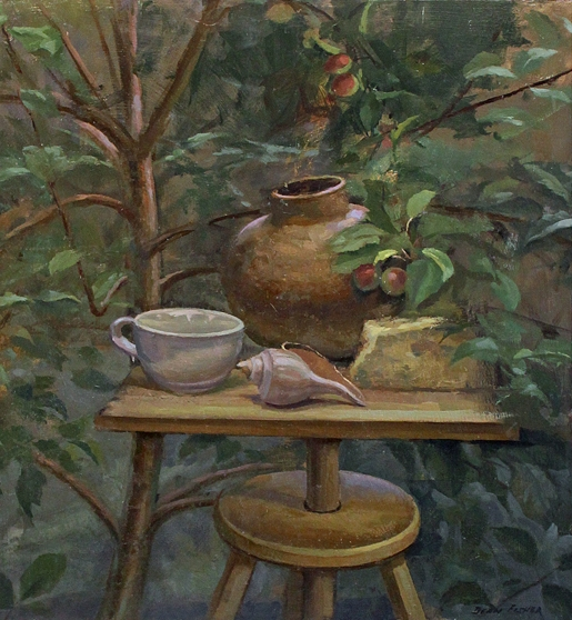"Garden Still Life - 22 1/4"" x 24 1/4"" - oil on panel"