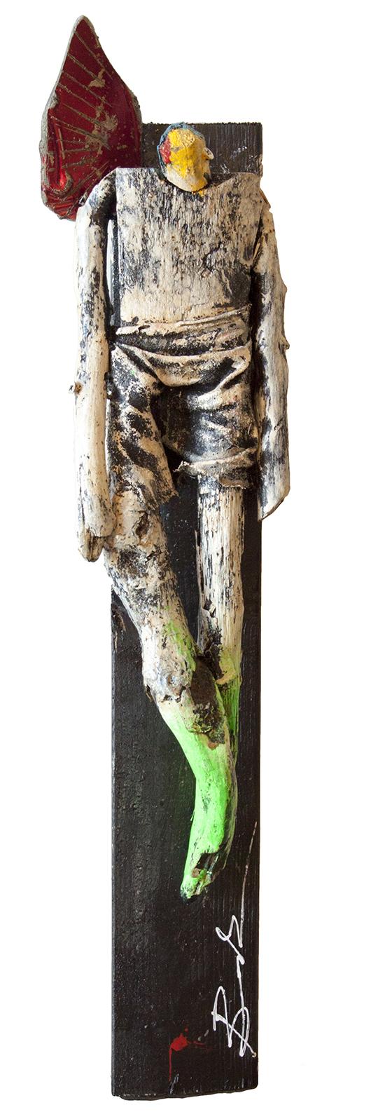 """Angel 2 - 5"""" x 25"""" x 4"""" - mixed media sculpture"""