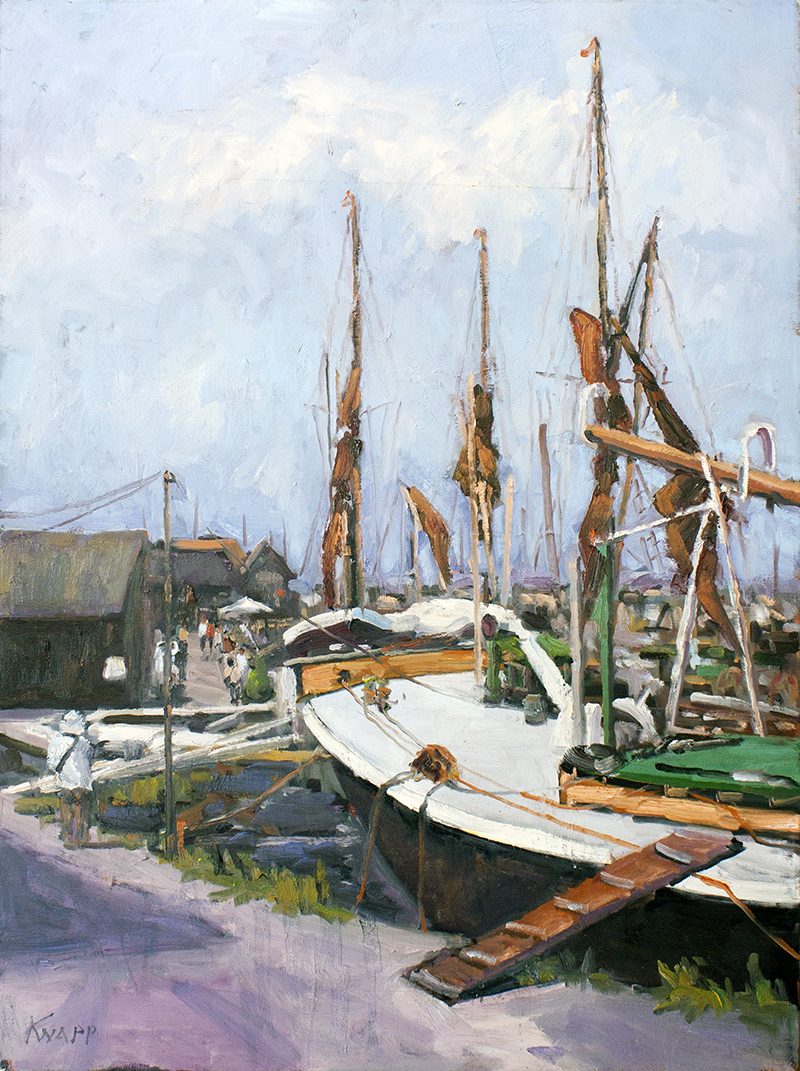 "Old Barge Boats - 30"" x 40"" - oil on canvas"