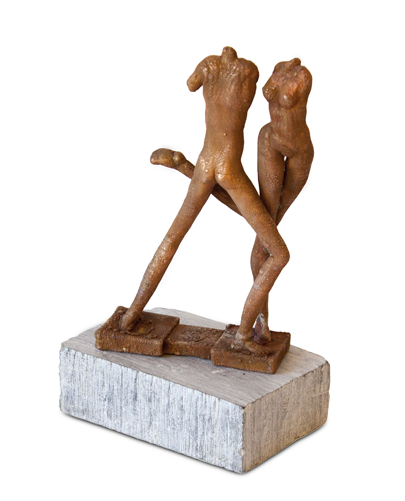 "Copper Lilliputian 7-Last Tango in Paradise - 8"" x 5"" x 3"" - copper, stone base"