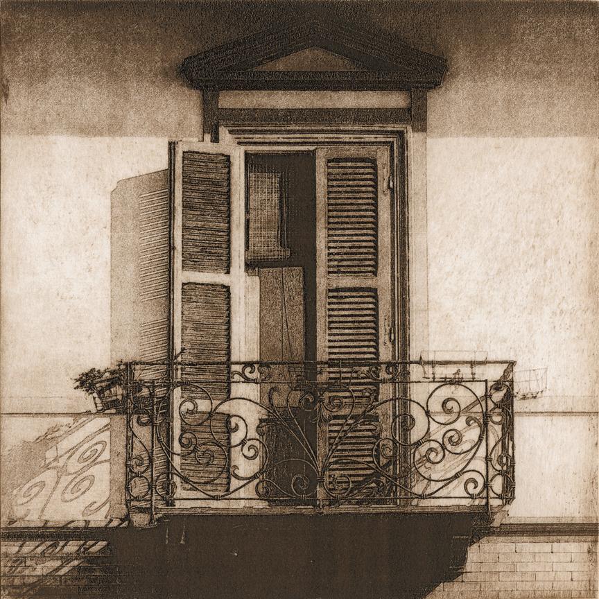 "Balcony in Pisa - 6"" x 6"" - intaglio"