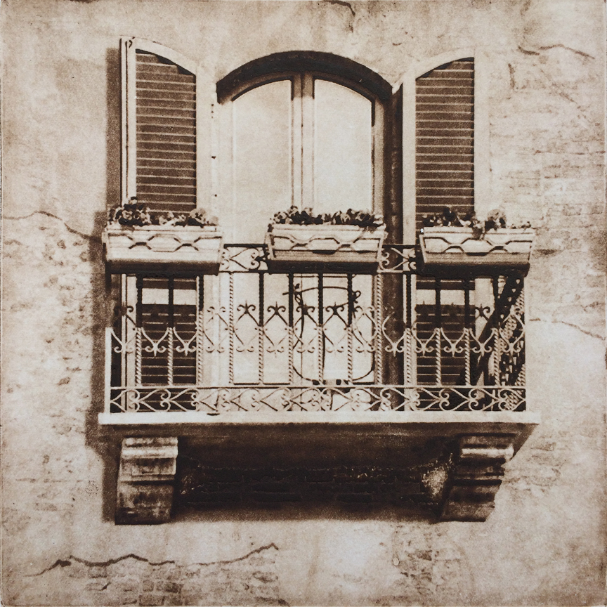 "Balcony in Florence - 6"" x 6"" - intaglio"