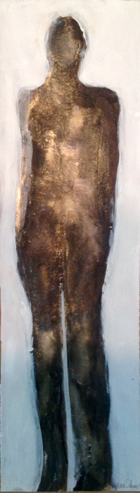 "Bronze - mixed media on paper - 7 3/4"" x 27"""