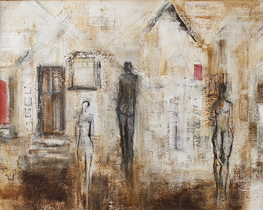 "The Meeting - 55"" x 44"" - mixed media on canvas"