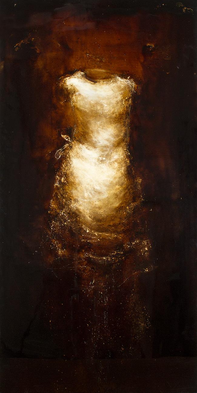 "Dress Form - 24"" x 48"" - mixed media on canvas"