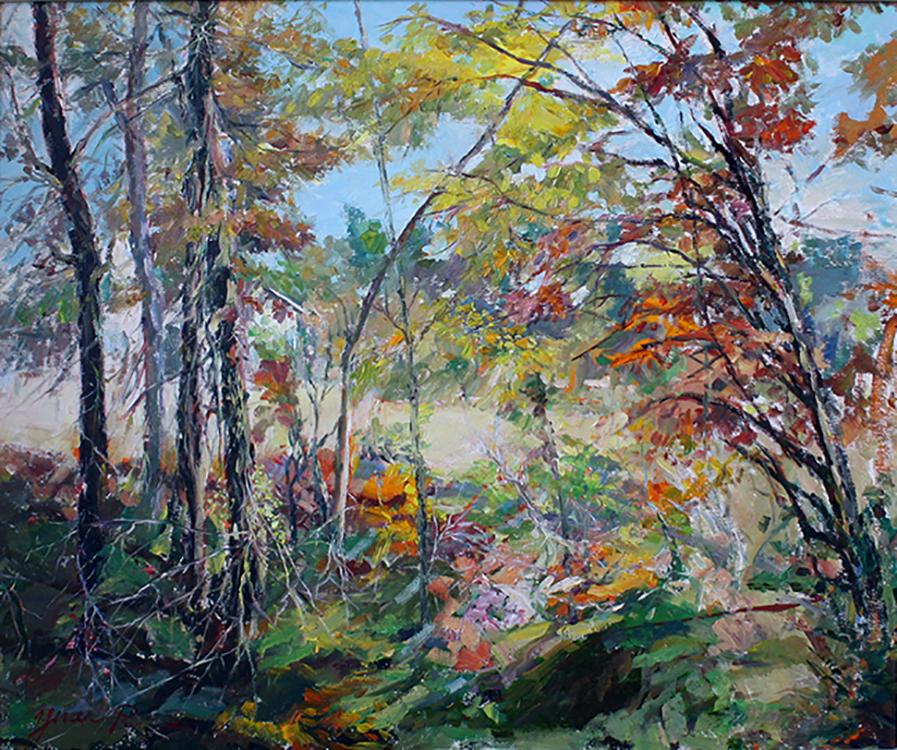 "Autumn Morning Memories - 24"" x 20"" - oil on canvas"