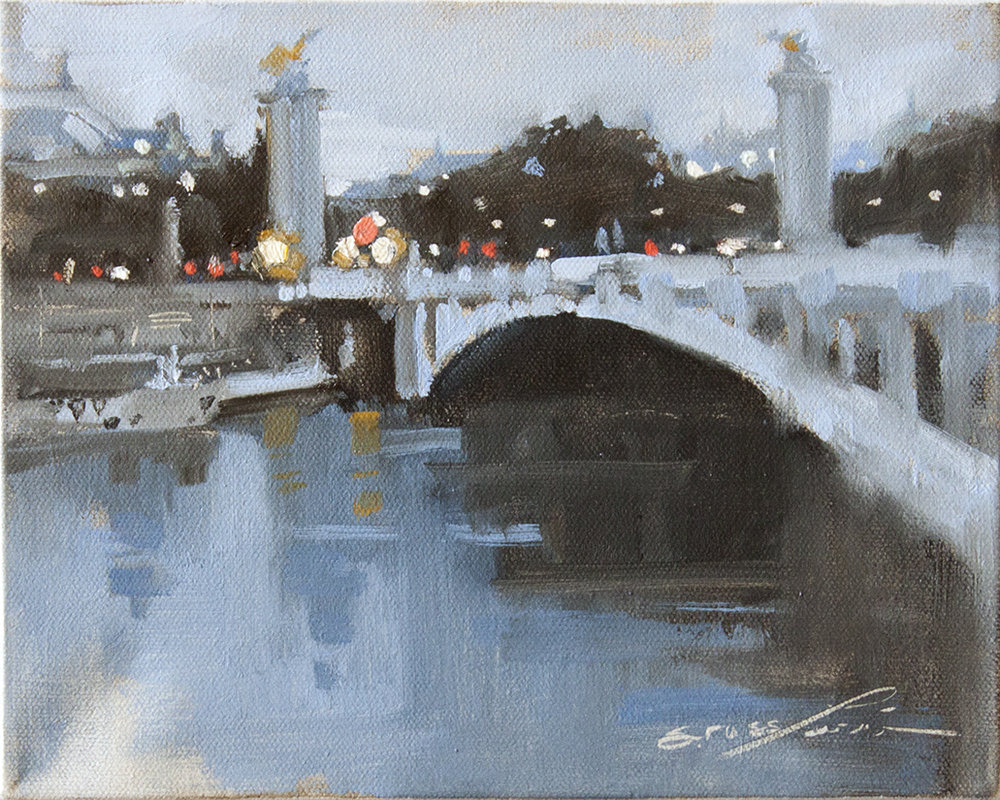 "SOLD Paris Nightfall - 10"" x 8"" - oil on canvas"