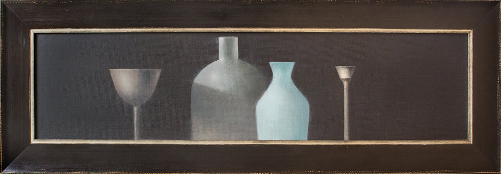 """Four Vessels - 48"""" x 12"""" - oil on panel"""