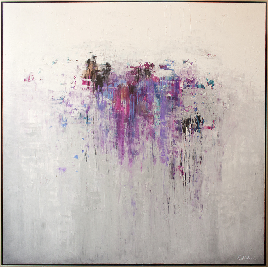 "Fuchsia Fortitude - 60"" x 60"" - mixed media on canvas"