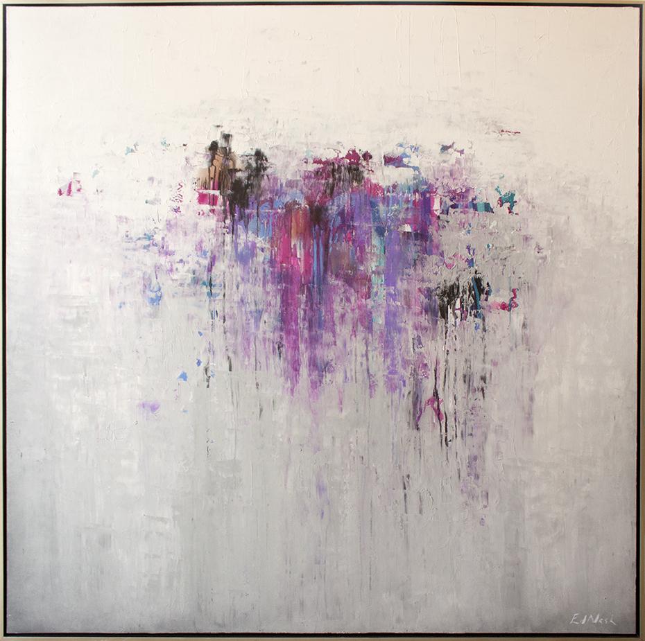 "Fuchsia Fortitude - 60"" x 60"" - mixed media on canvas"