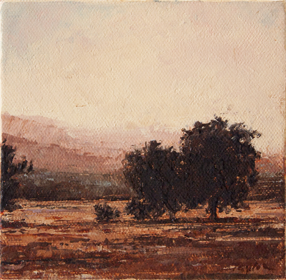"""Livermore Valley Sunset - 5"""" x 5"""" - oil on canvas"""