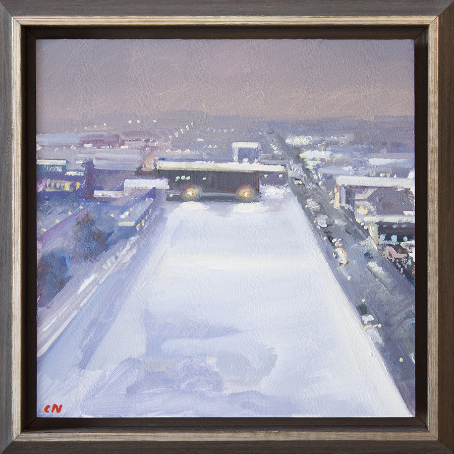 "Snow in the City - 12"" x 12"" - oil on panel"
