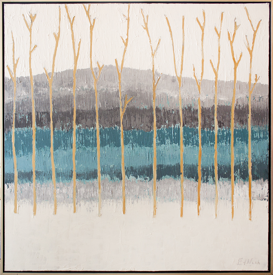 "SOLD Winter Hillside - 48"" x 48"" - mixed media on canvas"