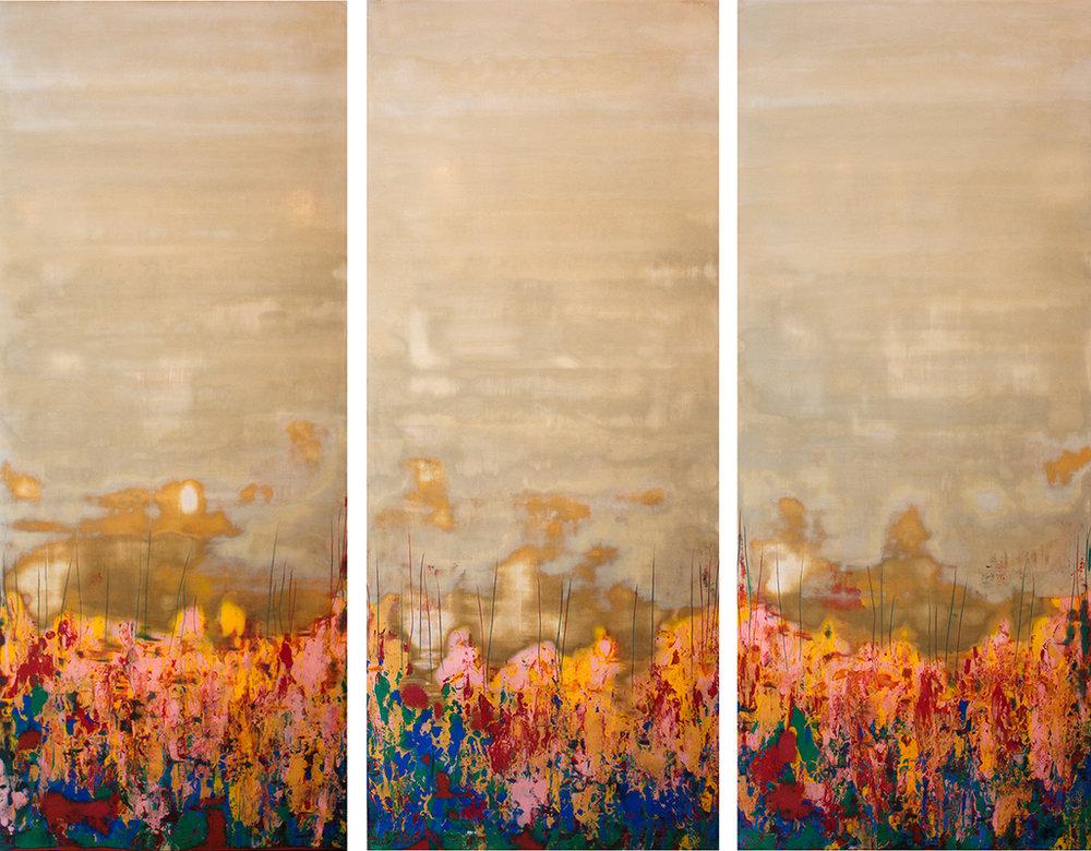 """Burst of Spring II - 72"""" x 60"""" - Venetian plaster on panel"""