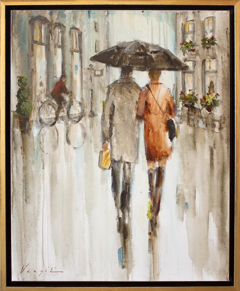 """Rainy Day Ride - 24"""" x 30"""" - acrylic on canvas"""