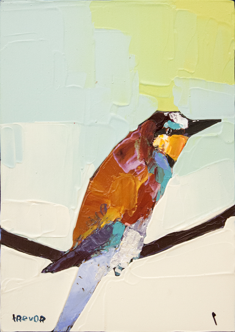 """SOLD Bee Eater- 5"""" x 7"""" - acrylic on board"""