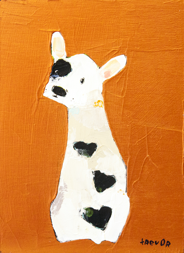 """SOLD Frenchie Love Butt - 5"""" x 7"""" - acrylic on board"""