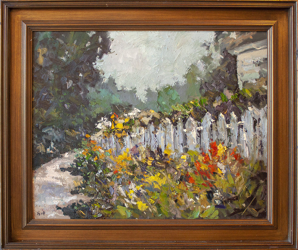 """Fence with Flowers - 30"""" x 24"""" - oil on canvas"""