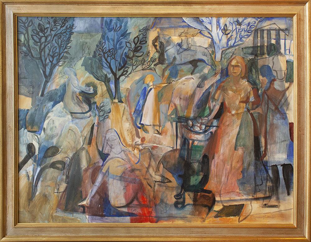"""Black Trees - 48"""" x 36"""" - mixed media on canvas"""