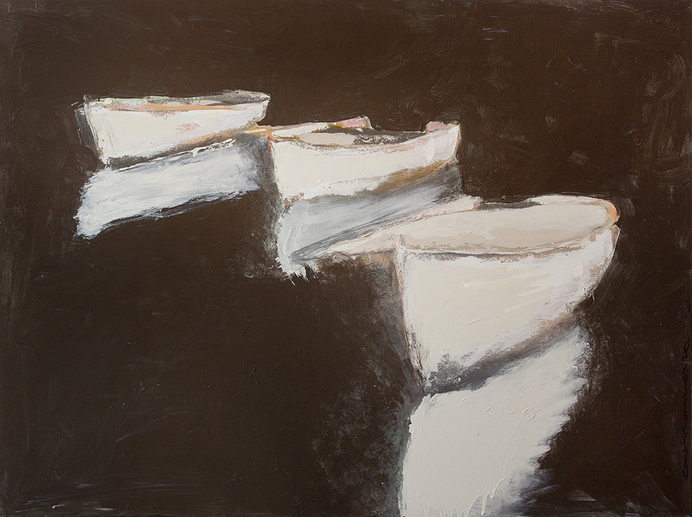 """SOLD Three White Boats - 40"""" x 30"""" - oil on canvas"""