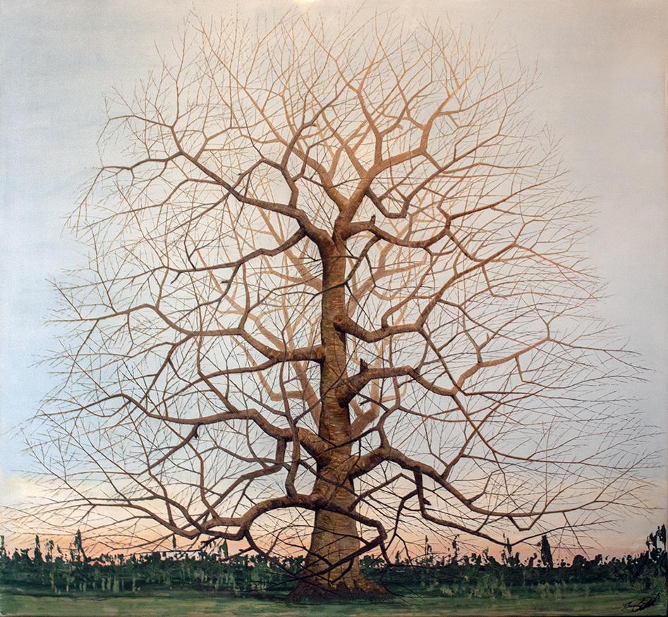 "Winter Tree 22 - 52"" x 48"" - Venetian plaster on panel"