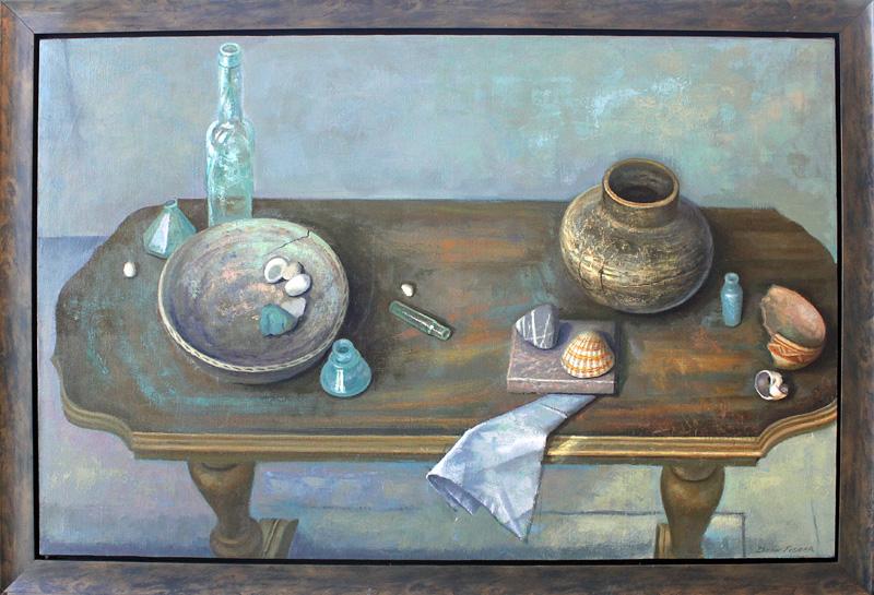 """Still Life on a School House Table - 21"""" x 34"""""""