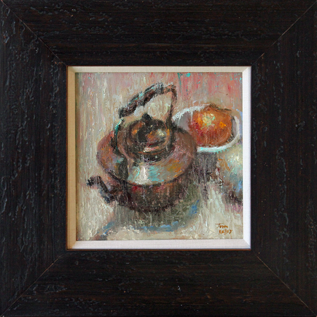 "Brass Teapot - 8"" x 8"" - oil on panel"