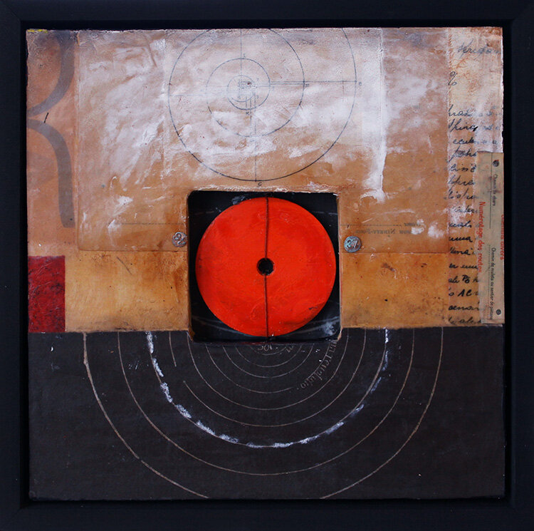 "Distance and Observation - 10"" x 10"" - mixed media"