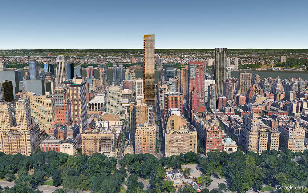 Center in gold, proposed tower 50 West 66th Street (775 feet). To the right, the tall grey building is the proposed 200 Amsterdam Avenue.