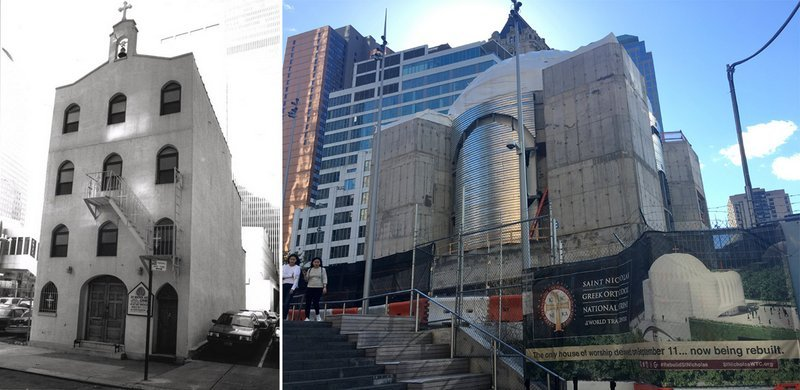 The original church (left) and the status of the construction of the new St. Nicholas.