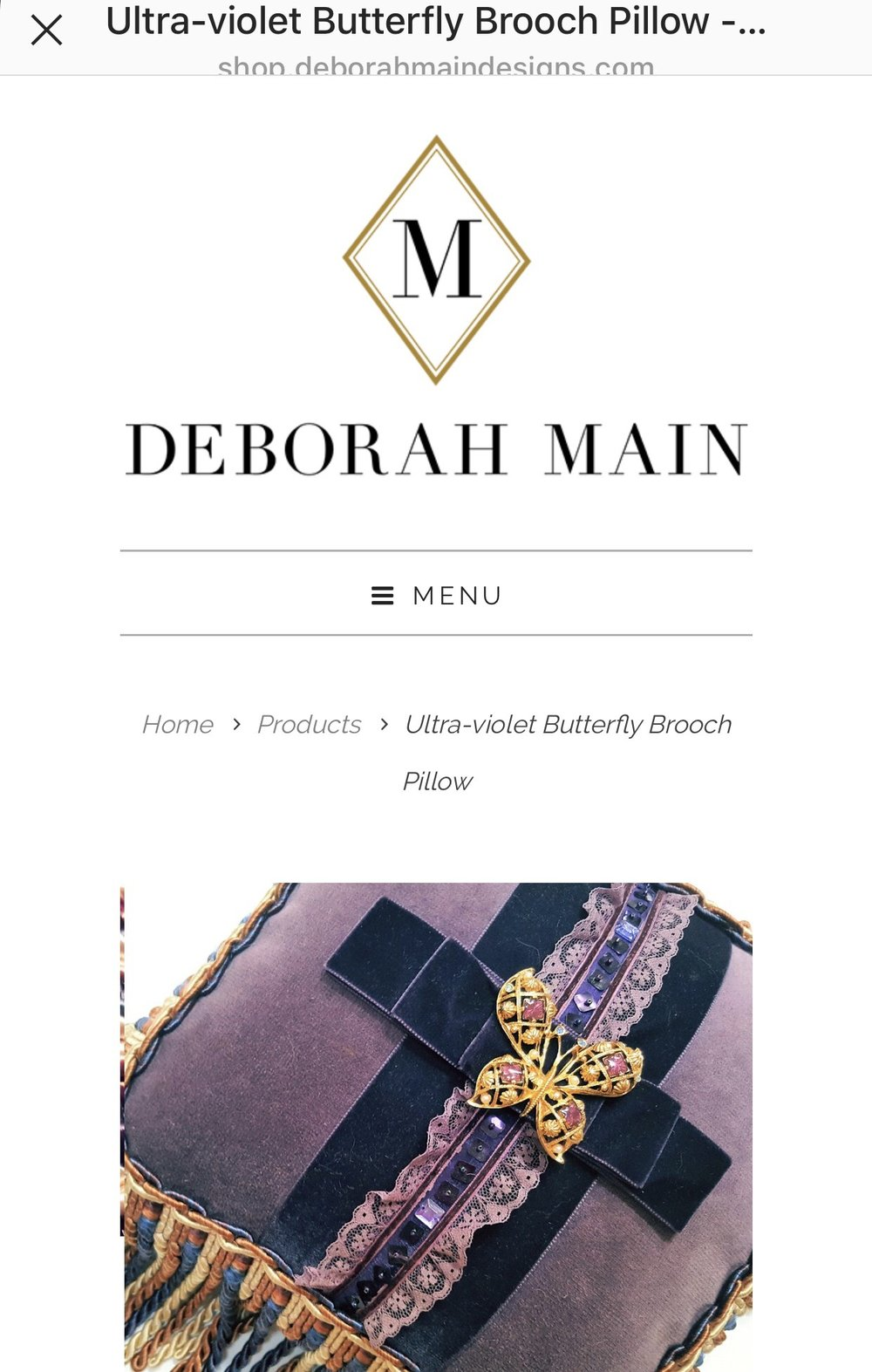 Screenshot 3 showing how the consumer is taken back to Deborah's own site, at www.deborahmaindesigns.com, when they click the SHOP NOW button on the 2nd image, from Deborah's Instagram feed at http://instagram.com/deborahamaindesigns.