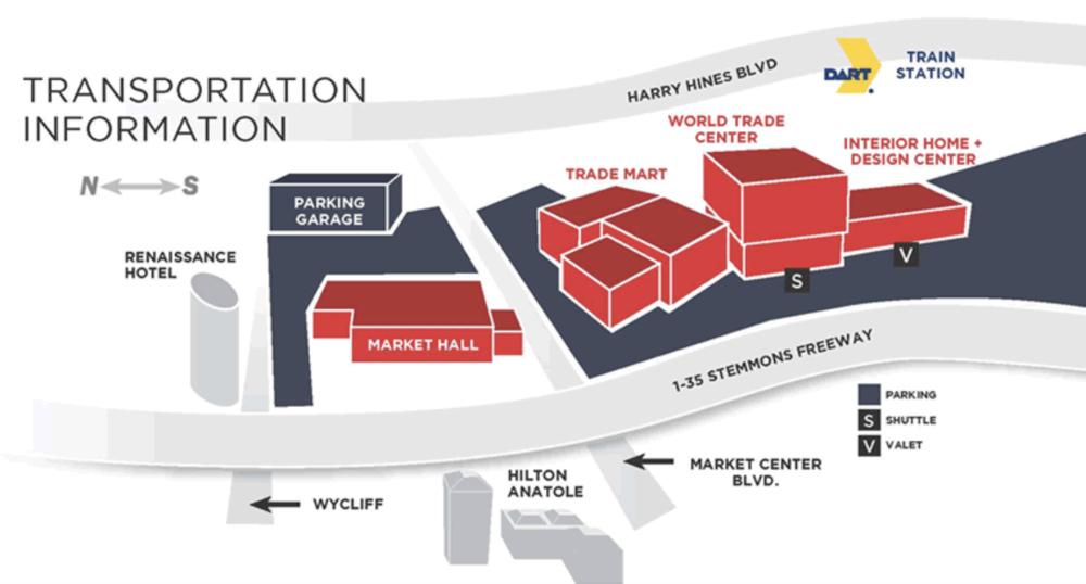 A birds eye view map of Dallas Market Center