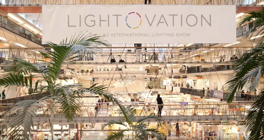 The inside of Lightovation, North America's largest wholesale lighting tradeshow, managed and leased by Dallas Market Center's Vice President of Lighting Technology Development and Marketing, Laura Van Zeyl.