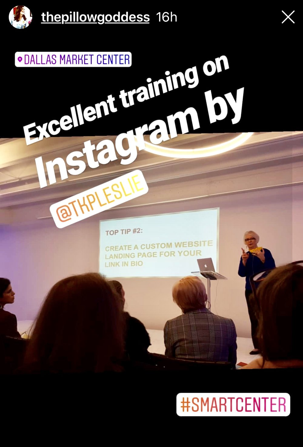 Leslie Carothers, CEO of The Kaleidoscope Partnership and Savour Partnership, speaking on Instagram Top Tips at the January 2019 Lightovation Show at Dallas Market Center, as featured in the Insta Story of Deborah Main .jpg