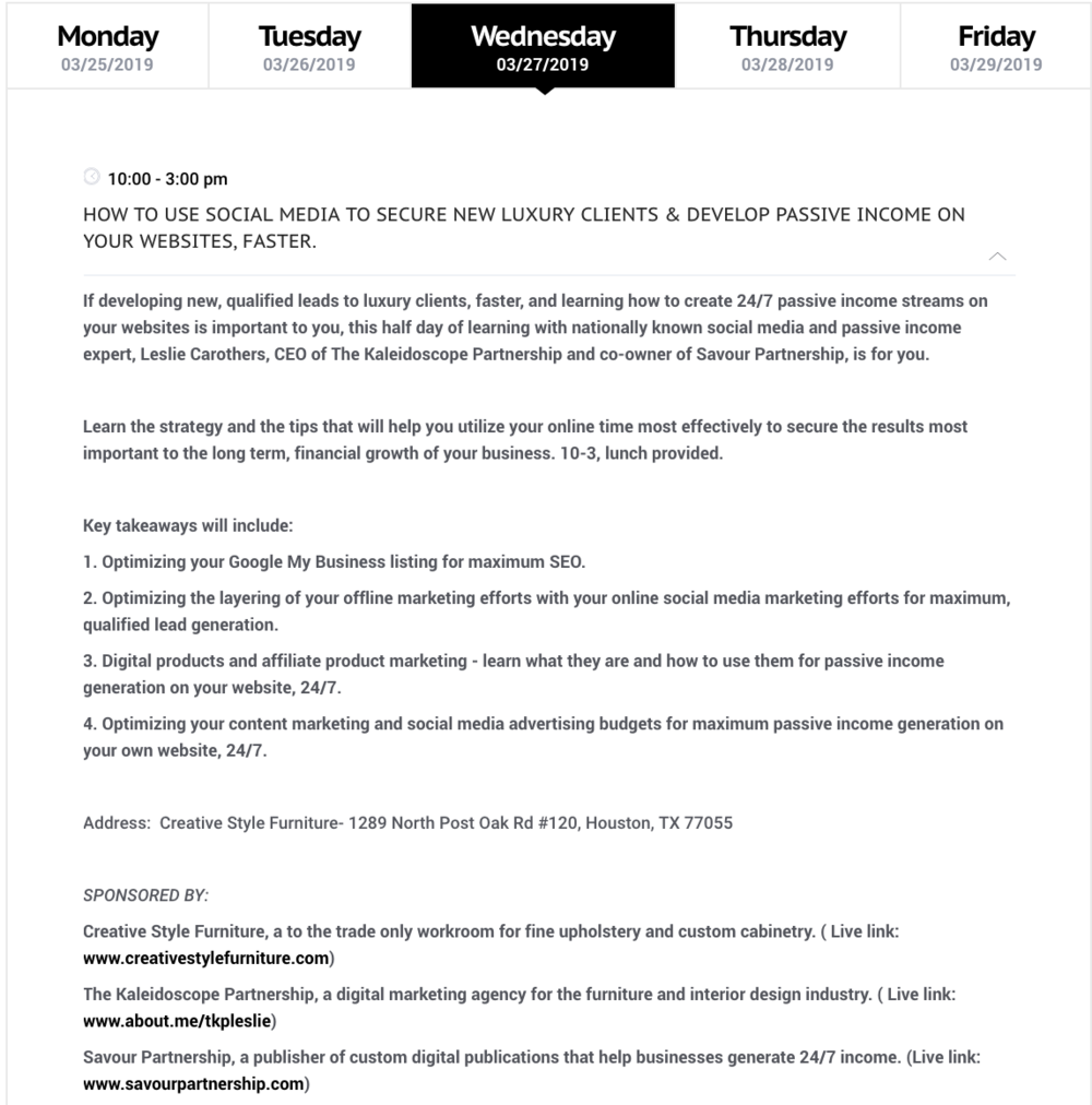 Texas Design Week 2019 EDUCATION DAY schedule