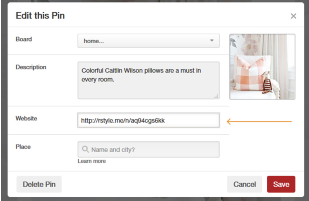 How To Add An Affiliate Link To A Pin on Pinterest