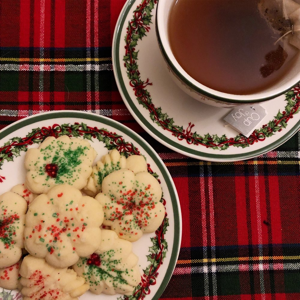 Something old - Ok well not old cookies, that would be gross, but an old family recipe that we make every year are Spritz cookies (read: from the Better Homes & Gardens Cookbook, although to be fair, it's a family tradition to use these recipes and it's an American classic). They are a butter cookie with a subtle almond flavor and go perfectly with a cup of tea. The best part is that you get to use a cookie gun, which is both efficient and dare we say cool?