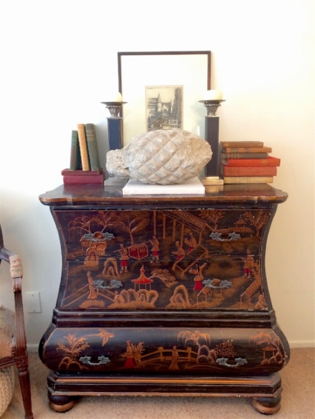 Finding this Chinoiserie bureau near UCLA was very exciting. It looks handsome topped with some antique books I saved from a dumpster. The books range in date from the late 1800's to the 1940's.