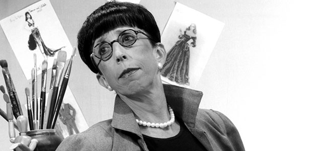 Costume designer Edith Head, tutelary goddess of these glasses.