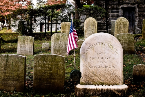 Like everything else in Sleep Hollow, the cemetery has an air of traditional Americana, with archetypal headstones that are stunningly classic. Courtesy of  James P. Fisher