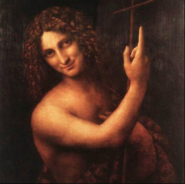 Note: Here, Leonardo Da Vinci's  John the Baptist  resembles a  Simpsons  character, like Sideshow Bob with hair relaxer.