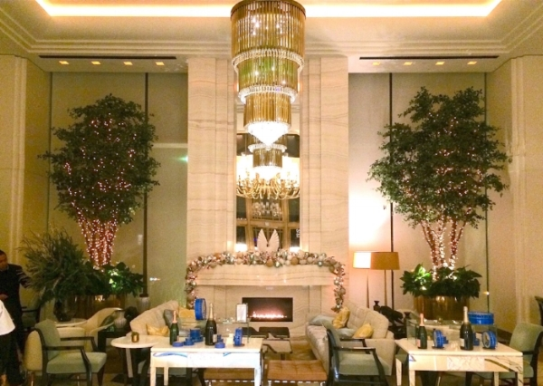 Jean Georges, as well as the hotel in general, have a remarkable art deco inspiration as seen here in the lobby's fireplace.