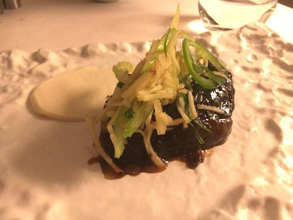Soy and Sweet Wine Lacquered Short Rib with Celery Root Puree