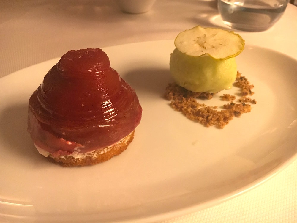 Hibiscus Apple Confit with Green Apple Sorbet
