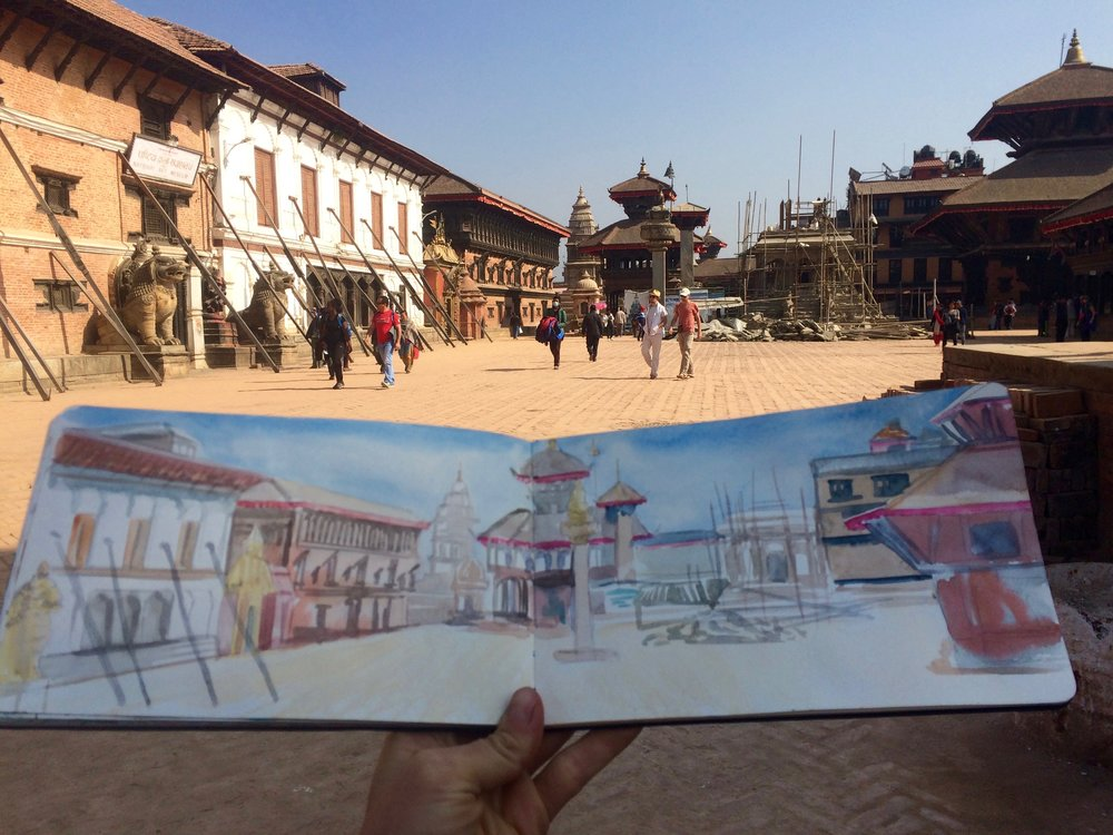 Bhaktapur Durbar Square - Ancient temples, school tours, and constant earthquake repairs.