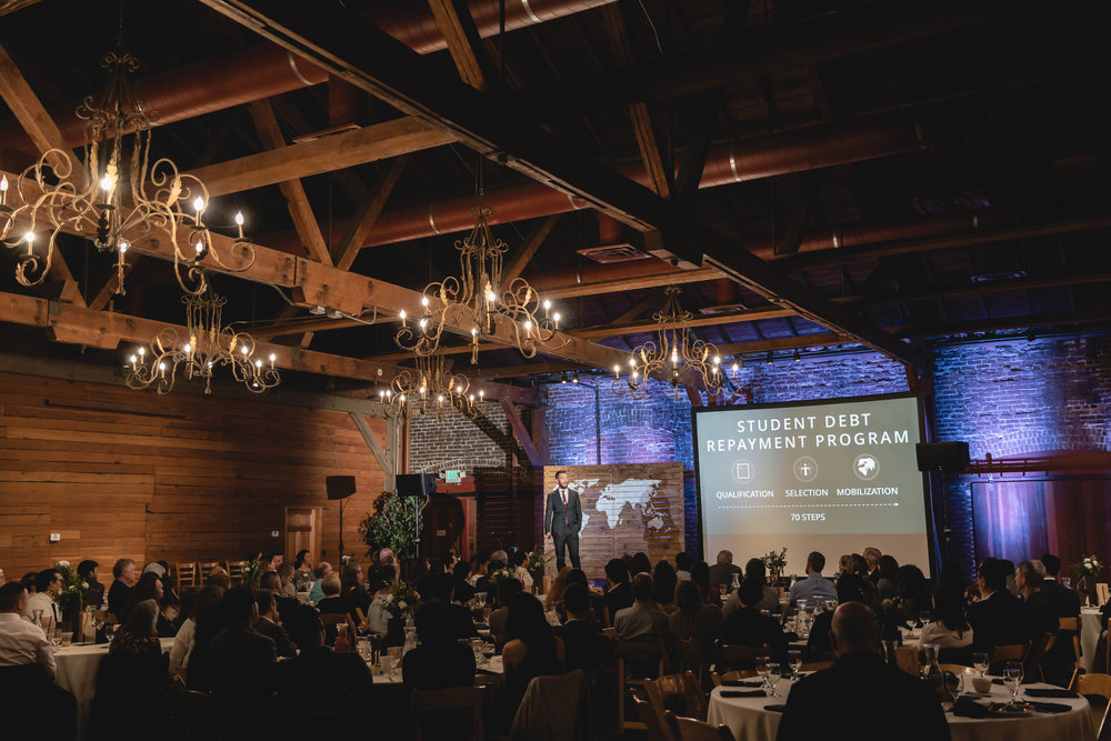 Founder and Executive Director, Luke Womack, addressing guests at the 2019 Spring Vision Dinner in Redlands, California.