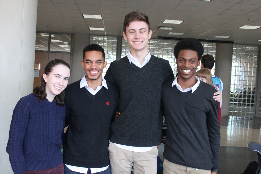 Ella Neurohr, Carel Jones, Eli Decker, and Nick Brown twin with a preppy look.