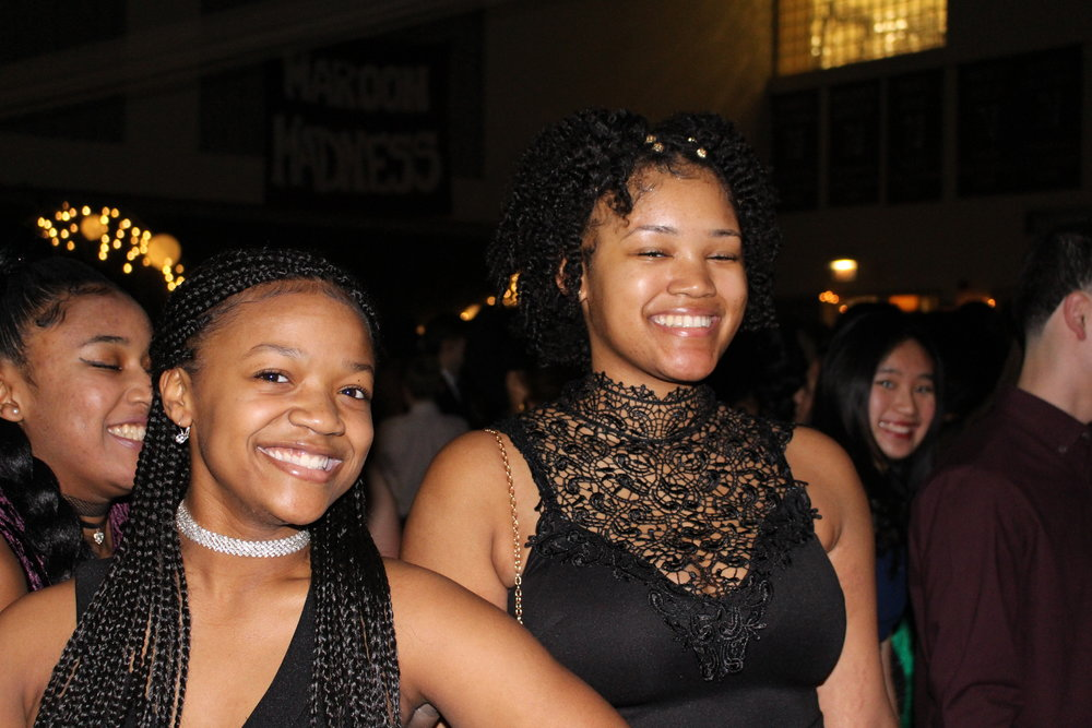 Sophomores Tamara Carter and Brianna Brent have a great time among their friends.