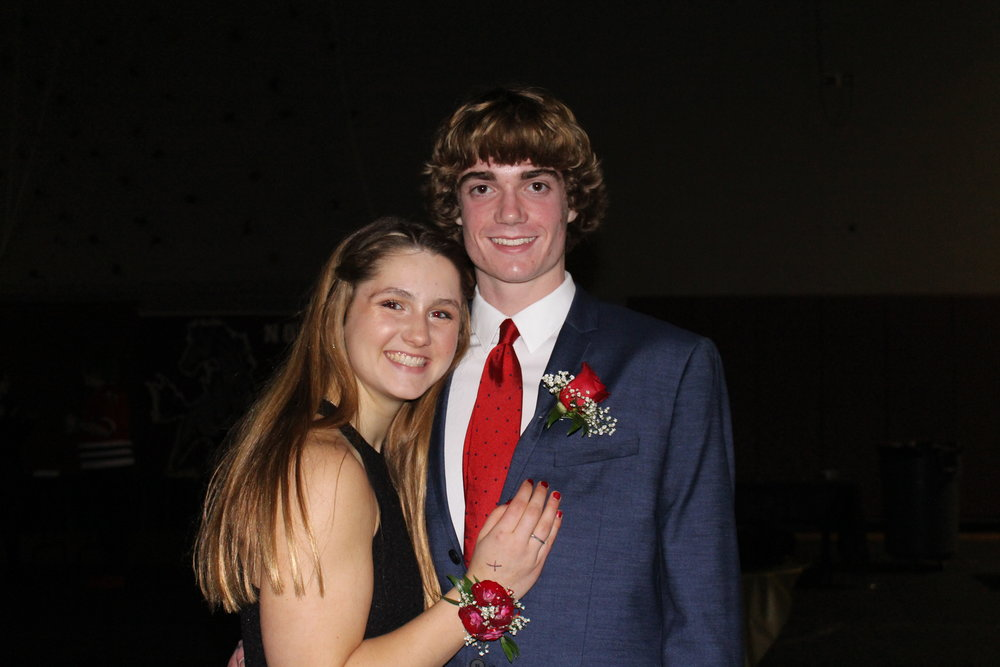 Olivia Borawski and her date wear a matching corsage and boutonniere.