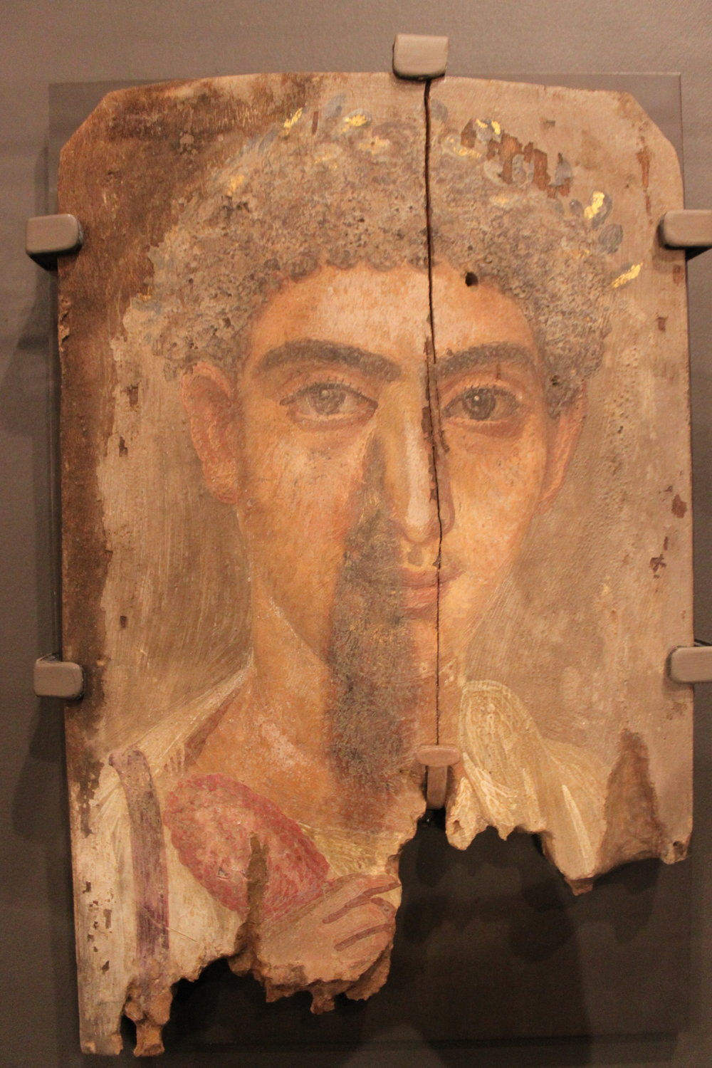 Mummy Portrait of a Man with a Wreath - Roman period (30 BCE  - 295 CE)